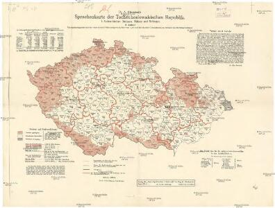Dr. A. Oberschall's Sprachenkarte der Tschechoslowakischen Republik.