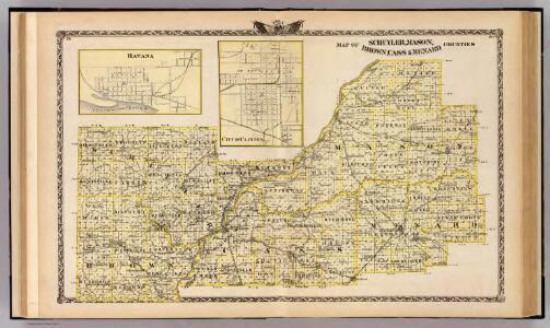 Map of Schuyler, Mason, Brown, Cass & Menard counties, Havana and Clinton.