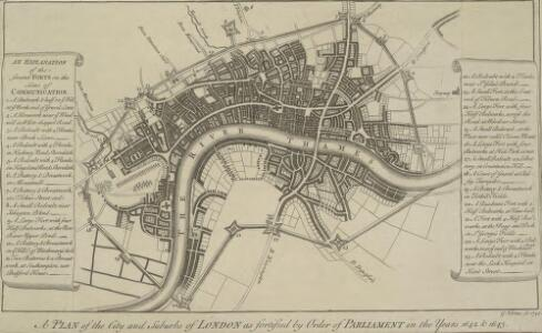 A PLAN of the City and Suburbs of LONDON as fortified by Order of Parliament in the Years 1642 and 1643.