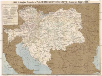 Artaria's Eisenbahn- u. Post- Communications-Karte v. Oesterreich-Ungarn