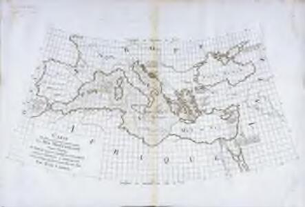 Carte des pays qu'occupe maintenant la mer Mediterranée