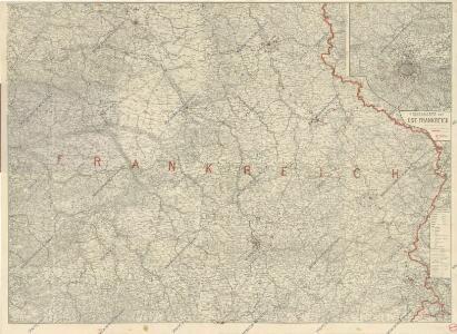 Ravensteins Deutsche Kriegskarten: Ost-Frankreich mit Beikarte Umgegend Paris