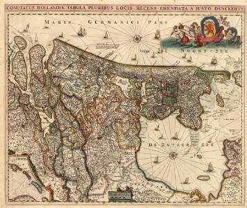 Comitatus Hollandiae Tabula Pluribus Loci Recens Emendata