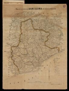 Mapa de la provincia de Barcelona con sus vías de comunicación