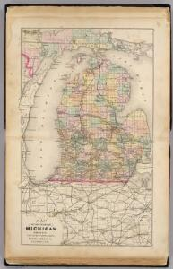 Map of the State of Michigan showing counties, townships, rail roads, ...