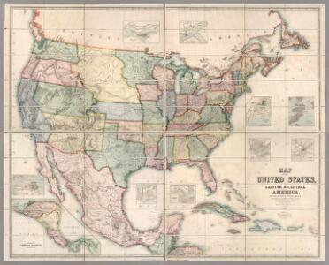 Map Of The United States, British & Central America.