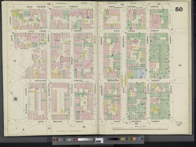 Manhattan, V. 3, Double Page Plate No. 50 [Map bounded by W. 4th St., Greene St., W. Houston St., Hancock St., Minetta St., 6th Ave.]