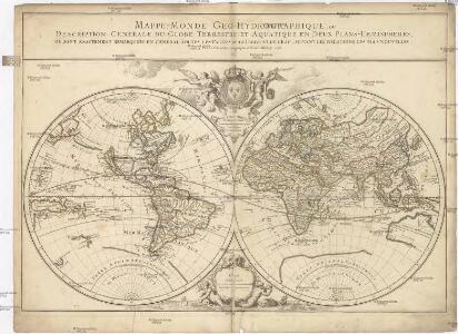 Mappe-monde geo-hydrographique, ou description generale du globe terrestre et aquatique, en deux plans-hemispheres