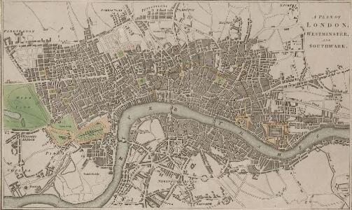 A PLAN OF LONDON WESTMINSTER AND SOUTHWARK