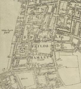 A New & Exact Plan of ye City of LONDON, detail showing Spitalfields