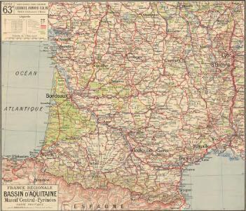 France Régionale Bassin d'Aquitaine Massif Central - Pyrénées carte politique