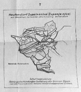 Haufendorf Supainenive (Županje njive), mit Blockflur teilweise streifenartig entwickelt