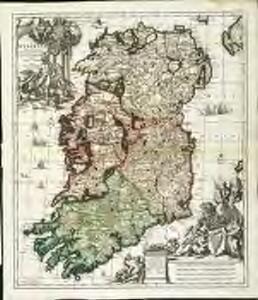 Hyberniæ regni in provincias Ultoniam, Connachiam, Lageniam, Momoniamq divisi tabula accuratissima