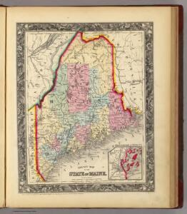 County Map Of The State Of Maine.