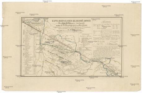 Karta napravlenija železnoj dorogi šossei i vodjanych soobščenij meždu S. Peterburgom i Moskvoju