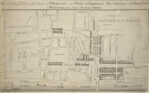 A PLAN of the Lower Parts of the Parishes of ST Margaret and ST JOHN the EVANGELIST, WESTMINSTER, from the HORSE FERRY to WHITEHALL, taken from an ACTUAL SURVEY