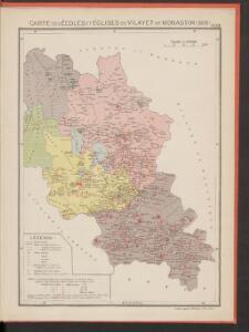 Carte des écoles et églises du vilayet de Monastir (1908)