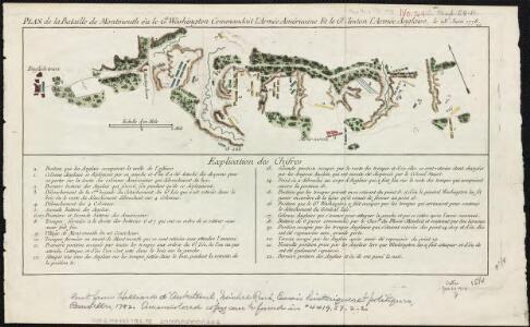 Plan de la bataille de Montmouth où le Gl. Washington commandait l'Armée Américaine et le Gl. Clinton l'Armée Anglaise, le 28 Juin 1778