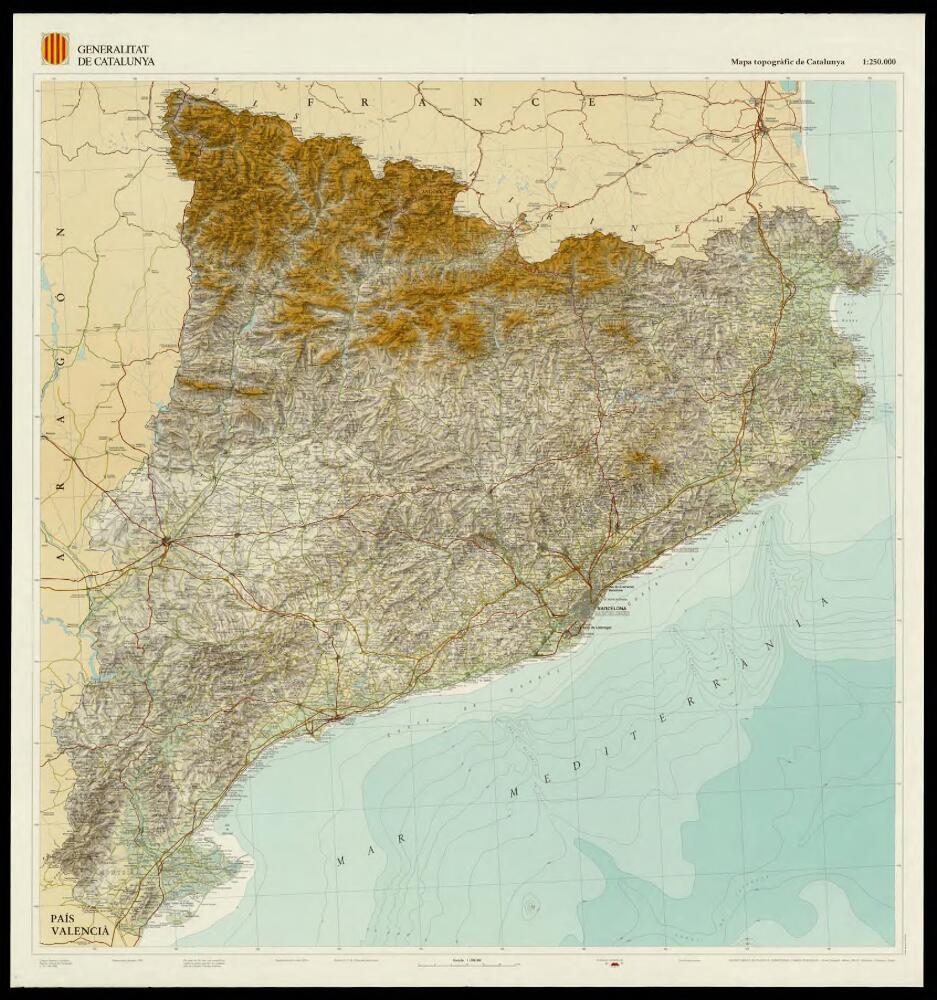 Mapa Topografic De Catalunya.Mapa Topografic De Catalunya 1 250 000