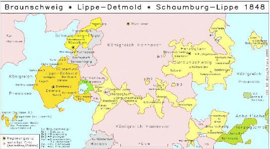 Braunschweig, Lippe-Detmold, Schaumburg-Lippe 1848