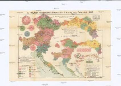G. Freytag's Reichsrathswahlkarte aller 5 Curien von Österreich, 1897