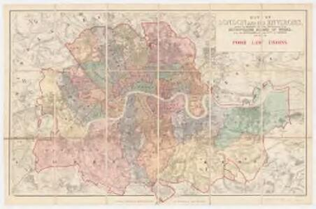 Map of London and its environs : shewing the boundary of the jurisdiction of the metropolitan board of work, also the boundaries of the city of London : Poor law unions