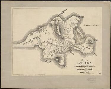 Plan of Boston showing existing ways and owners on December 25, 1640