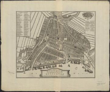 Nieuwe platte grond van de stad Rotterdam geleegen aan de rivieren de Maase en de Rotte : Plan nouveau de la ville de Rotterdam située sur les rivieres de la Meuse et de la Rotte.