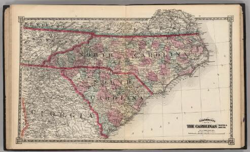 Schonberg's Map of North Carolina and South Carolina.