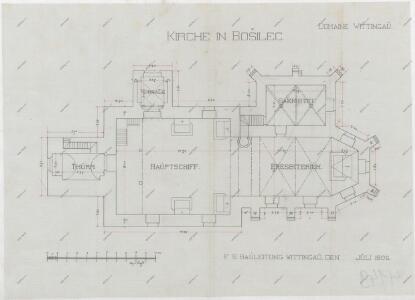 Půdorysný plán bošileckého kostela 1