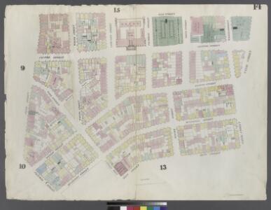 [Plate 14: Map bounded by Canal Street, Mott Street, Cross Street, Mulberry Street, Chatham Street, Pearl Street, Elm Street]