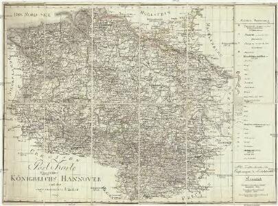 Post Karte des Königreichs Hannover und der angrenzenden Länder