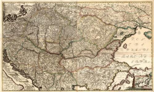 Accurate Landkarte die Königreiche Ober- und Nieder-Hungarn, Slavonien, Croatien, Dalmatien, Bosnien, Servien, Bulgarien, und Romanien, das Groß Fürstenthum Siebenbürgen, die Fürstenthümer Moldau, Wallachey, Bessarabien, die Oczakowisch- und Crimische Tartarey, die Pohlnische Provinz Podolien, wie auch ein Theil von Ukranien, und übrige angränzende Ländere