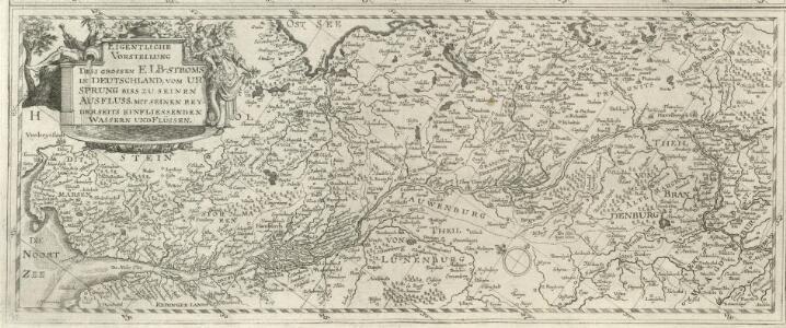 Eigentliche Vorstellung dess grossen Elb-Stroms in Deutschland, vom Ursprung biss zu seinen Ausfluss, mit seinen beyderseits einfliessenden Wassern und Flüssen