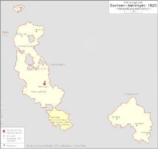Herzogtum Sachsen-Meiningen 1820 Verwaltungsstruktur