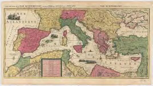Carte nouvelle de la mer Mediterranée : divisée en mer de Levant et de Ponant, subdivisés en leurs principales parties ou mers : avec les observations des Mrs. de l'Académie