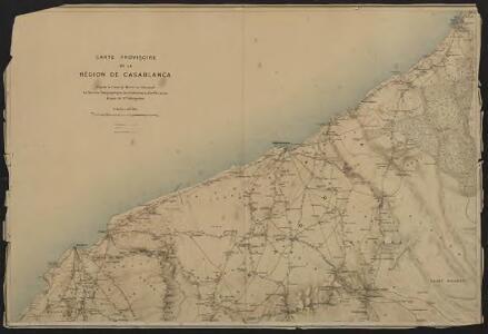 Carte provisoire de la région de Casablanca d'après la carte du Maroc au 500 000e