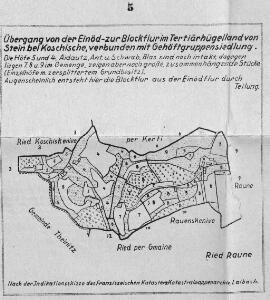 Übergang von der Einöd- zur Blockflur im Tertiärhügelland von Stein bei Koschische, verbunden mit Gehöftgruppensiedlung