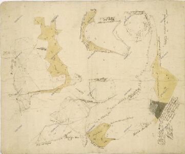 Záměrná mapa-brouillon-lesních pozemků a pastvin na statku Bzí