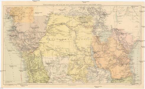 Übersichtskarte zum Zuge der Emin Pascha - Entsatzexpedition quer durch Afrika
