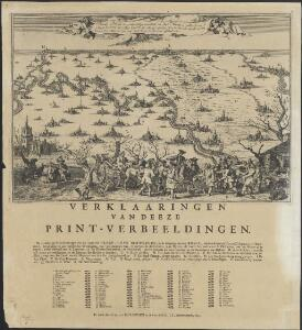 Derde plaat der overstroominge inhoudende het Ryk Nimweegen strekkende van de steede Emmerik tot Thiel beneevens de Meyerye van den Bos &c., met alle desselfs doorbraken in 't jaar 1740 en 1741, seer naauwkeurig na het leven afgebeelt