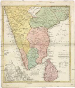 Peninsula INDIAE citra Gangem, hoc est Orae celeberrimae MALABAR & COROMANDEL Cum adjacente Insula non minus celebratissima CEYLON