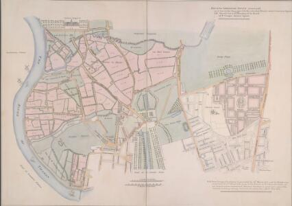 MAP of the GROSVENOR ESTATE (tinted pink) as it was in the Year 1723. with the intended Streets about Grosvenor Square.
