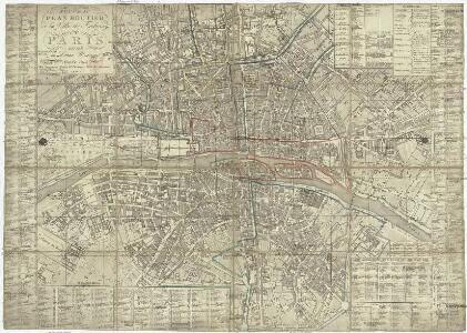 Nouveau plan routier de la ville et fabourgs de Paris divisé en douze mairies