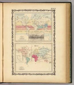Map of The World Illustrating ... Meteorology ... Rain ... Plants.
