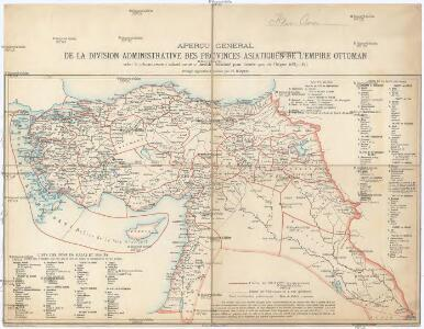 Aperçu general de la division administrative des provinces asiatiques de l'empire Ottoman