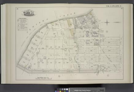 Vol. 6. Plate, F. [Map bound by Newtown Creek, Charlick St., Bridgewater St., Meserole Ave., Kingsland Ave., Norman Ave., Humboldt St., Whale Creek Canal; Including Sutton St., Wallock St., Leyden St., Monitor St., Henry Pl., N. Henry St., Holland St., R