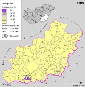 A szerbek aránya és száma a Dél-Alföldön 1880-ban