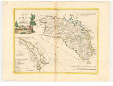 Isola di Minorca. Di nuova Projezione. Plano del Porto et della cittá di Mahon