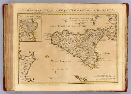 Siciliae Antiquae quae et Sicania et Trinacria dicta tabula geographica.
